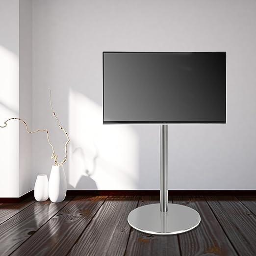 'Cavus–FM120/50S–Supporto TV design–Ø 37cm base rotonda in acciaio inossidabile–120cm Saule Acciaio Inossidabile–VESA 200X 200–&