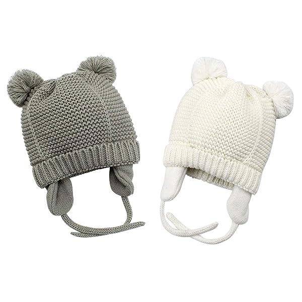 Bestjybt Baby Hat Cute Bear Infant Toddler Earflap Fleece Lined Beanie Warm  Caps for Fall Winter ... 1fda38160dcb