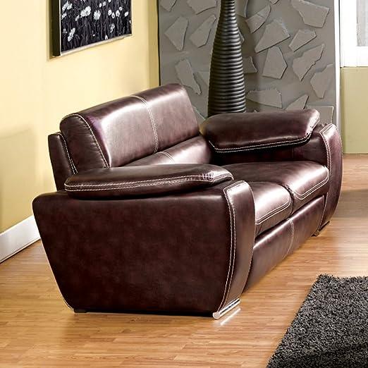 Furniture of America Huntley Bonded Leather Loveseat - Dark Brown