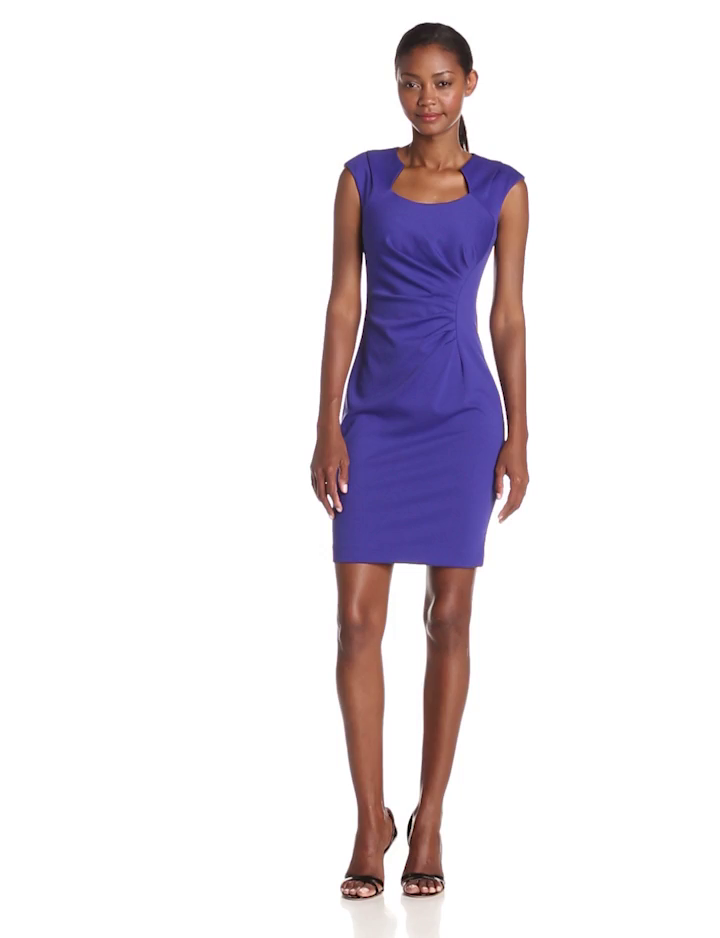 Calvin Klein Women's Cap Sleeve Sheath Dress, Byzantine, 4