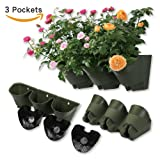 Worth Garden Olive Green Self-Watering 1 Set - 3 Pockets Vertical Wall Garden Planters (Color: Olive Green)