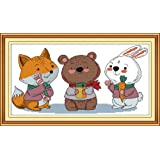 Cross Stitch Stamped Kits Pre-Printed Cross-Stitching Starter Patterns for Beginner Kids or Adults, Embroidery Needlepoint Kits Three Little Buddies (Color: Printed Kits,Three Little Buddies)