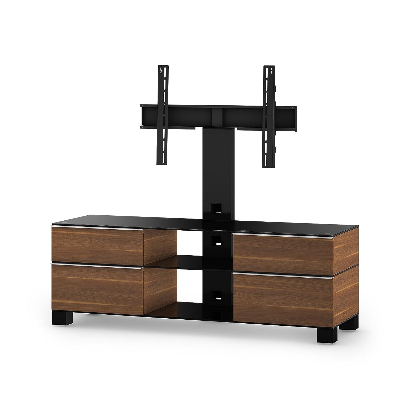 Sonorous MD 8240-B-HBLK-WNT Fernseher-Möbel mit Schwarzglas (Aluminium Hochglanz, Korpus Holzdekor) walnuß/schwarz
