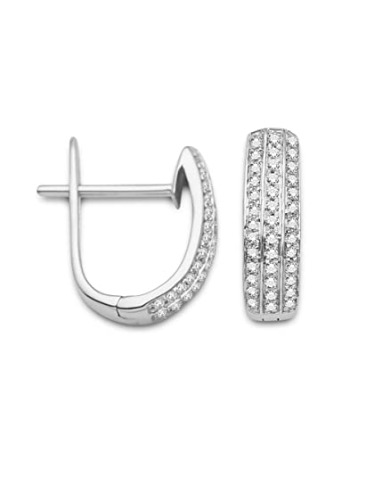 Miore 9ct White Gold Three Row 0.24ct Diamond Set Hoop Earrings SA944E