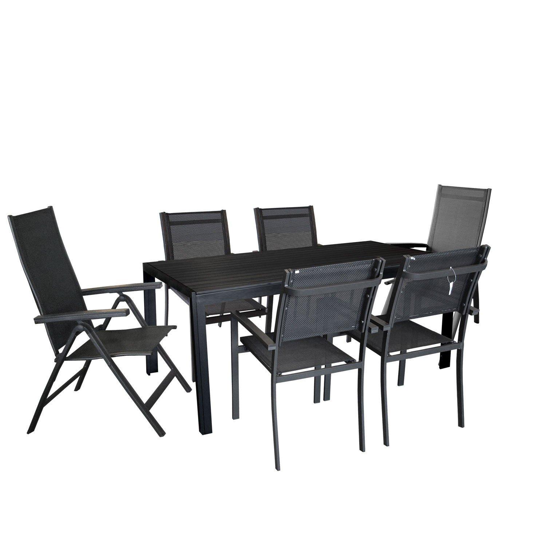 7tlg Gartengarnitur Gartenmöbel Terrassenmöbel Set Gartentisch mit schwarzer Polywood Tischplatte 205x90cm 2x Hochlehner mit 6-fach verstellbarer Rückenlehne 4x Stapelstuhl mit 4x4x Textilenbespannung Sitzruppe Sitzgarnitur jetzt bestellen