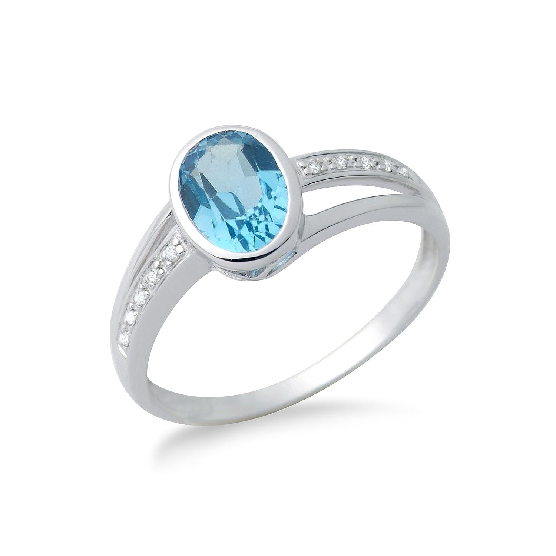 Miore Damen-Ring 375 Weißgold Blau Topas 10 Brillanten als Geschenk