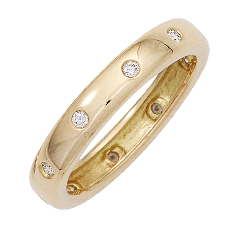 Damen Ring 585 Gelbgold 10 Diamanten Brillanten 0,15ct. günstig online kaufen