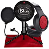 Blue Snowball iCE USB Cardioid Condenser Microphone (Black) with Studio Headphones & Pop Filter Deluxe Accessory Pack (Color: Black)