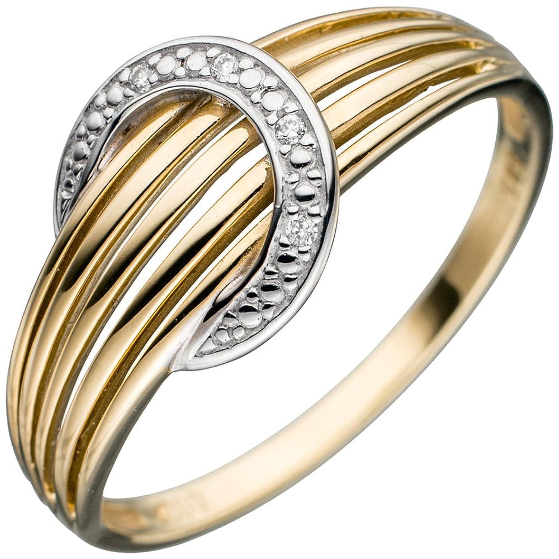 Damen Ring 585 Gold Gelbgold bicolor 4 Diamanten Brillanten Goldring Diamantring ( Gold Ringe ) Größe : 60 (19.1) als Weihnachtsgeschenk kaufen