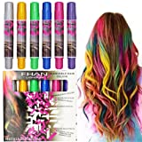 Glitter Vibrant Temporary Hair Color Pen Crayon Chalk Non-Toxic Blendable Rainbow Colored Dye Pastel Kit Essential (Color: 6 Colors)