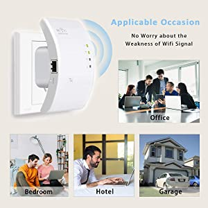 MECO WiFi Range Extender, Wireless Repeater 300Mbps WiFi Signal Amplifier Supports Repeater/Access Point/Router Mode with Two Network Interfaces
