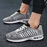 TIFENNY Men's Casual Breathable Shoes Stripe Air Cushion Sport Mesh Lace-up Non-Slip Round Toe Sneakers Shoe Gray (Color: Gray, Tamaño: 40/7.5)