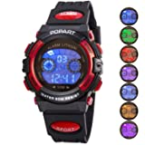 Kid Watch for Child Boy Girl LED Multi Function Sport Outdoor Digital Dress Waterproof Alarm Red (Color: -Black Red, Tamaño: S)
