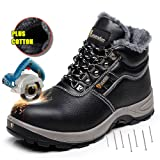 AiChuang Winter Safety Shoes For Men Safety Boots Steel Toe Cap (10, Black) (Color: 24 Black, Tamaño: 10 D(M) US)