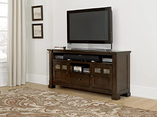 64 in. TV Console Table in Mesa Brown Finish