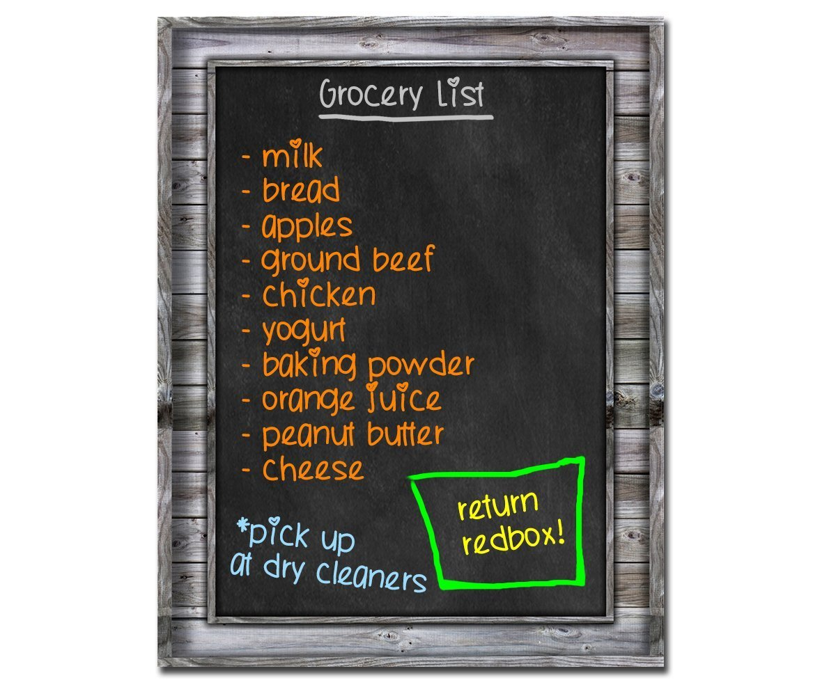 Smart Planner: Black Dry Erase Refrigerator Magnetic Chalkboard Design | Use Horizontal or Vertical as a Weekly Planner for Important Calendar Dates. Meal, Grocery, To Do or Chore List Magnet