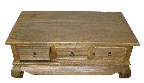 table basse en bois massif avec 3 tiroirs en bois de manguier clair