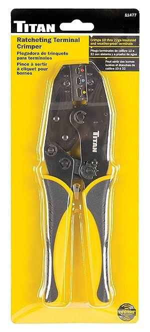 Titan Tools 11477 Ratcheting Wire Terminal Crimper (Tamaño: Fixed Jaw Crimper)