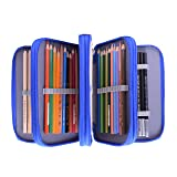 Pencil Case For Drawing, Newcomdigi 72 Colored Pencil Case Bag Multi Layer Large Capacity Pen Pencil Holder Organizer Storage Pouch with Compartment For Boy Girl Student School Art Craft Office (Blue) (Color: Blue)