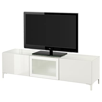 IKEA BESTA - TV bench with doors White/selsviken high-gloss/white frosted glass