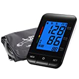 Digital Blood Pressure Monitor, Security Fully Automatic Electronic Pulse Rate Meter with Upper Arm Cuff LCD Backlight Screen Perfect for Home Use