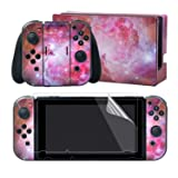 eXtremeRate Full Set Faceplate Skin Decals Stickers and 2 Pcs Screen Protector for Nintendo Switch/NS Console & Joy-con Controller & Dock Protection Kit - Galaxy Soul (Color: Galaxy Soul)