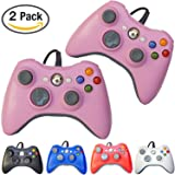FiveStar Pack of 2 USB Wired Game Pad Controller for Use With Xbox 360, Windows 10 5 Colors (Pink)