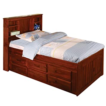 Bookcase Twin Bed - Merlot Finish