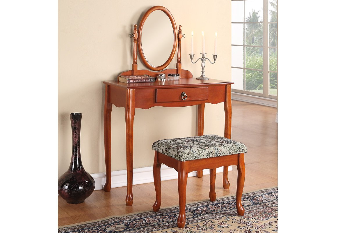 Oak Finish Wooden Vintage Looking Vanity with Bench Set 0