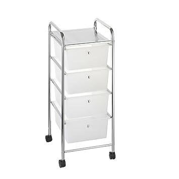 axentia bad 282151 schubladenwagen melina verchromt mit 4 transparenten kunststoffboxen. Black Bedroom Furniture Sets. Home Design Ideas