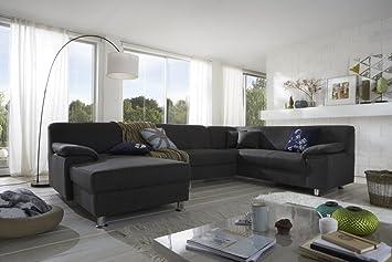Dreams4Home Polsterecke Laguna Sofa Wohnlandschaft Couch U-Form Schlaffunktion grau strukturiert, Ausfuhung Anschlag:Ohne Schlaffunktion - Ottomane rechts