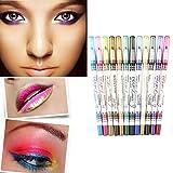 Popfeel 12 Color Glitter Eyeliner Lip Liner Set ,PVC Design Eyebrow Pen Pencil Makeup Kit (Color: D)