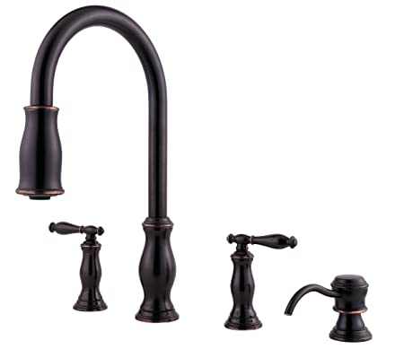 Price Pfister F5314TMY Hanover Double Handle 4-Hole Pull-Down Kitchen Faucet, Tuscan Bronze