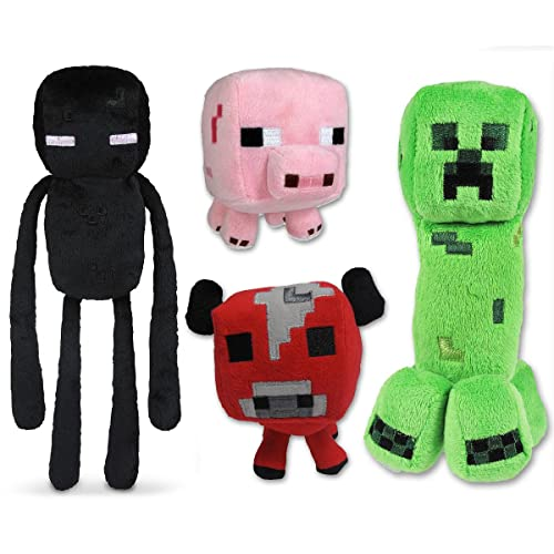 Just Model Minecraft Plush Set of 4 with Creeper Enderman Pig & Mooshroom Free 4Pcs Set