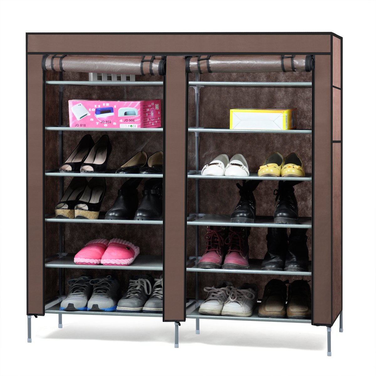 Popamazing 6-Tier 2 Rows Doors Shoe Cabinet Rack Large Shoes Stand Storage Organizer Furniture (Coffee)