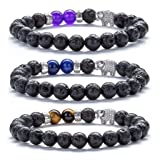 Hamoery Men Women 8mm Lava Rock Diffuser Bracelet Elastic Natural Stone Yoga Beads Bracelet Bangle,Elephant (3 Pcs Set2) (Color: 3 Pcs Set2-21011)
