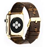 GOKE Brown Flower LV Printed Luxury PU Vegan Leather Watch Band Strap Compatible for 42mm Apple Watch Series 3 2 1 (Brown Flower 42mm) (Color: Brown flower 42mm)