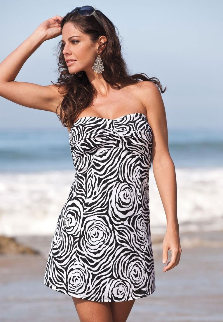 Black and White Floral Swimdress by ROAMANS