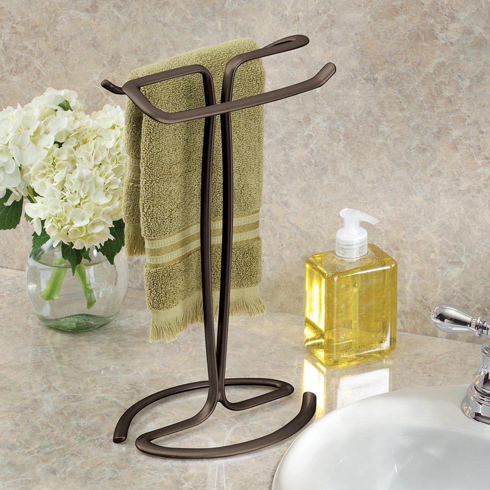 Interdesign Axis Free Standing Towel Rack For Bathroom Vanities Bronze 7 6 X 6 2 X 13 8 Inches