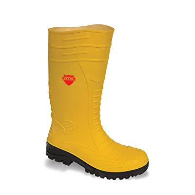 VITAL VW254 Yellow Ground Worker Safety Wellington Boots with Steel Toe Cap and Midsole Protection