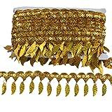 MELADY Pack of 10yards Sequins Leaves Hanging Tassel Lace Dance Clothing Accessories Fringe Trim (Gold) (Color: gold)