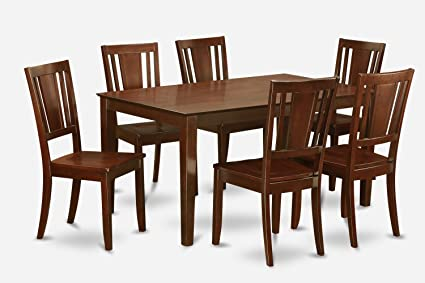 East West Furniture CADU7-MAH-W 7-Piece Formal Dining Table Set