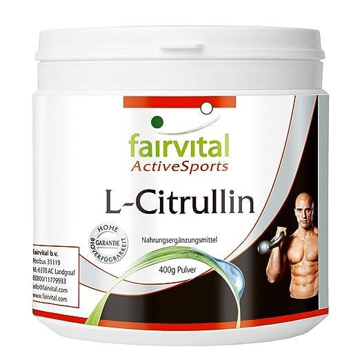 L-Citrullin zur Unterstutzung des Trainings Monatspackung 400 g reines Pulver (vegetarisch, ohne Zusatzstoffe)