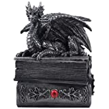 Mythical Guardian Dragon Trinket Box Statue with Hidden Book Storage Compartment for Decorative Gothic & Medieval Home Decor Sculptures and Figurines As Jewelry Boxes or Magical Fantasy Gifts for Office Study Library by Home-n-Gifts (Color: Pewter)