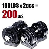 Starring 105 - 200 Lbs adjustable dumbbells (200 LBS Black with Trays) (Color: 200 LBS Black with Trays)