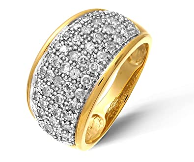 Naava 9ct Yellow Gold Diamond Multi Row Eternity Ring