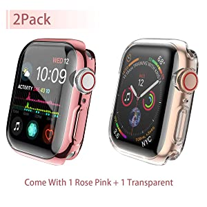 [2-Pack] Julk Case for Apple Watch Series 4 Screen Protector 44mm, 2018 New iWatch Overall Protective Case TPU HD Ultra-Thin Cover for Apple Watch Series 4 (1 Rose Pink+1 Transparent) (Color: 1 Rose Pink+1 Transparent For Series 4 44mm)
