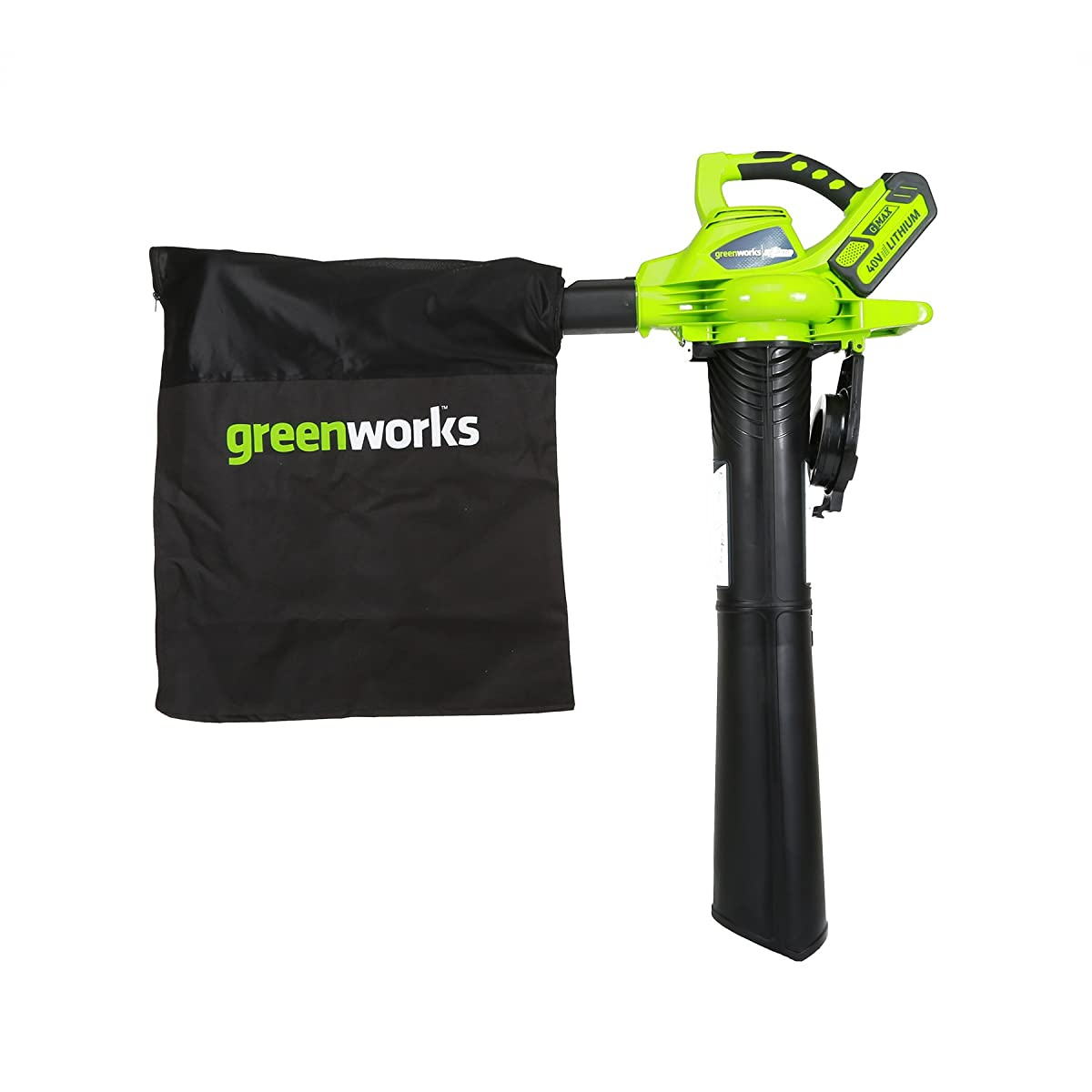 Greenworks 40V 185 MPH Variable Speed Cordless Blower Vacuum, 4.0 AH Battery Included 24322