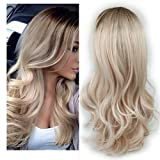 Lady Miranda Ombre Wig Brown To Ash Blonde High Density Heat Resistant Synthetic Hair Weave Full Wigs For Women(T/Ash Blonde) (Color: Brown&ash Blonde)