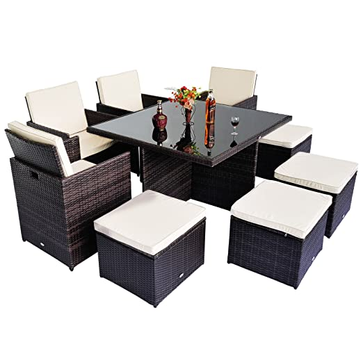 Outsunny Polyrattan Gartenmöbel 21 tlg. Rattan Essgruppe Gartenset Lounge Sitzgruppe Sofa Loungemöbel Garnitur inkl. Kissen Alu, Schutzhulle optional erhältlich (21 tlg. Rattan Gartenset)
